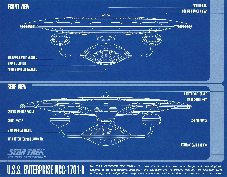 Star Trek Uss Enterprise A D Deep Space 9 Blueprints Blueprint Engine Diagram Front Rear Views